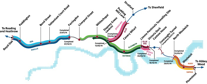 Crossrail-TBM-progress-map