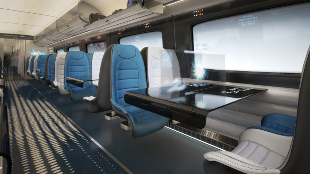 Hitachi rail europe debuts conceptual high speed train interiors transport rail - British interior design style pragmatism comes first ...