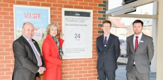 GWR Managing Director Mark Hopwood; Theresa May; GWR Regional Development Manager Tom Pierpoint and Twyford Station Manager David Pinder.