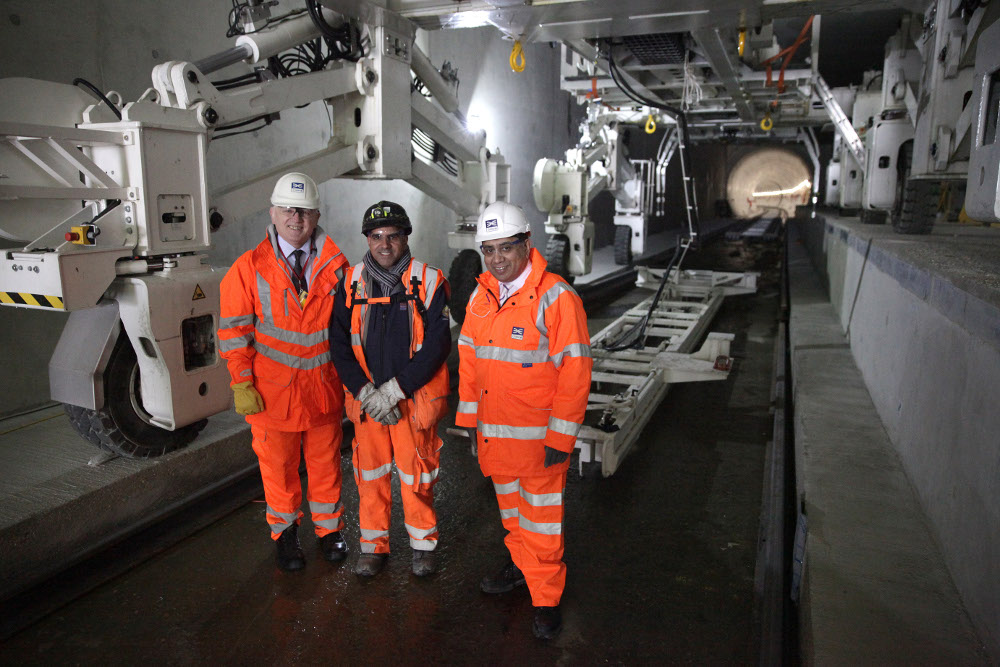 Transport Minister views permanent track installation progress in Crossrail tunnels 1