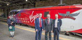 Secretary of State for Scotland David Mundell with David Horne & Martin Griffiths for launch of Virgin Trains' new cross-border timetable