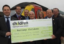 Cheque presentation to Railway Children at Nottingham station.