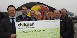 Cheque presentation to Railway Children at Nottingham station.